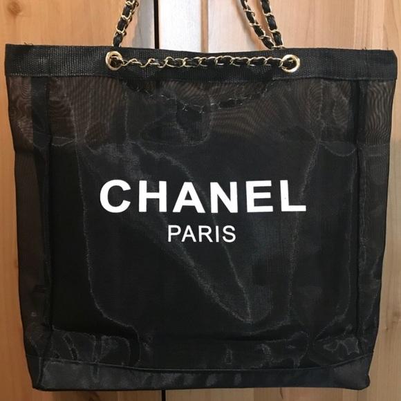 e96864c8e8c Chanel Paris CC VIP Black Mesh Tote W Gold Chain